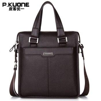 P. KUONE 2017 Genuine Leather Men's Business  Briefcase vertical casual Shoulder Messenger bag male lapot Handbag Men's Backpacks