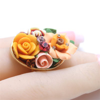Top Quality Vintage Element Girl Ring Jewelry Crystal Pretty Yellow Flowers For Party Finger Rings For