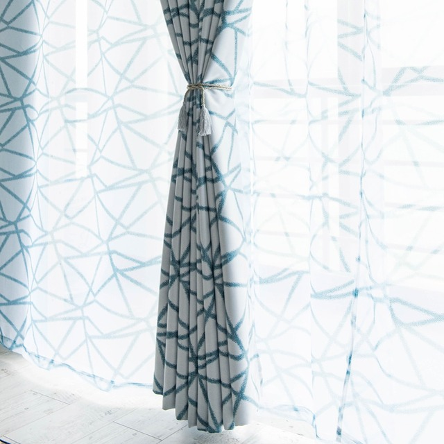 Topfine Strisce Geometriche Trattamento Tende Trasparenti Per Soggiorno Cucina Camera Da Letto Camera Voile Tulle su Finestre Decorativo Per La Casa