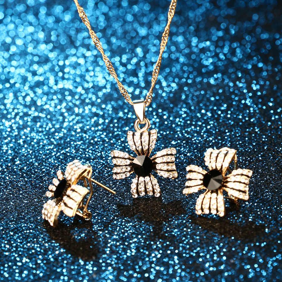 Conjuntos de 2 uds de joyas de Color dorado de Dubái, collares y pendientes de trébol de esmalte negro con zirconias artificiales incrustadas, collar femenino de lujo