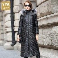Новый Плюс Размер M 4XL натуральная кожа куртка женская лисий меховой воротник с капюшоном черный длинный из натуральной овчины пальто корот