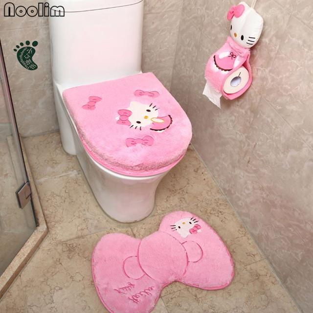 4pcs/set Hello kitty bathroom set toilet seat cover wc seat cover bath mat holder closestool lid cover Christmas home decor