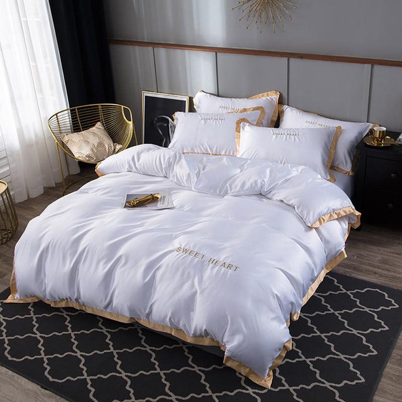 100% ensemble de literie en soie naturelle avec housse de couette drap de lit taie d'oreiller de luxe 4 pièces Satin literie linge de lit King Queen Twin Size
