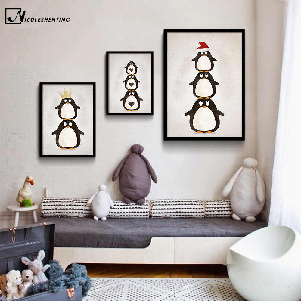 NICOLESHENTING Cartoon Penguin Animal Minimalist Canvas Poster Nordic Art Painting Wall Picture Modern Kids Room Decoration