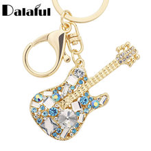 Dalaful Unique Guitar Crystal Rhinestone Keychains Purse Bag Buckle HandBag Pendant For Car Keyrings Women Key Chains K255(China)