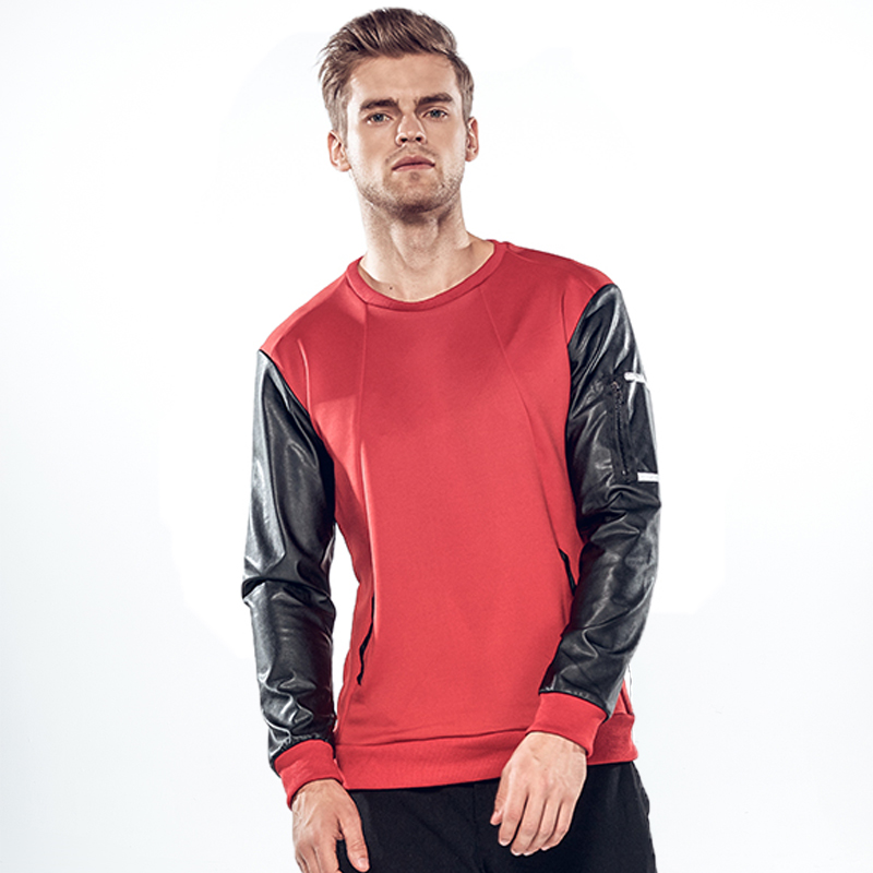 MIXCUBIC 2017 Autumn College style leather sleeve Hedging weatshirts men casual slim Mixed colors sweatshirts men size M-2XL