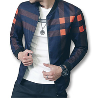 New Brand Baseball Collar Jacket Men Plaid Fashion 2017 Mens Bomber Jackets For Men Autumn Style