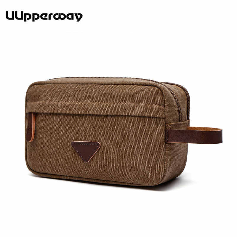 Canvas Clutch Bags Men's Casual Mini Bags Male Money Pocket Zipper Men Leather Handbag Canvas Toiletry Wash Bags Wrist Hand Bag