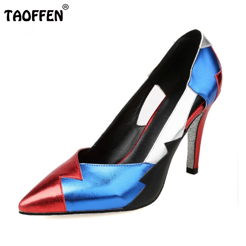 ladies real genuine leather high heel shoes women brand sexy pointed toe heels print brand pumps heeled shoes size 34-39 R08334 цены онлайн