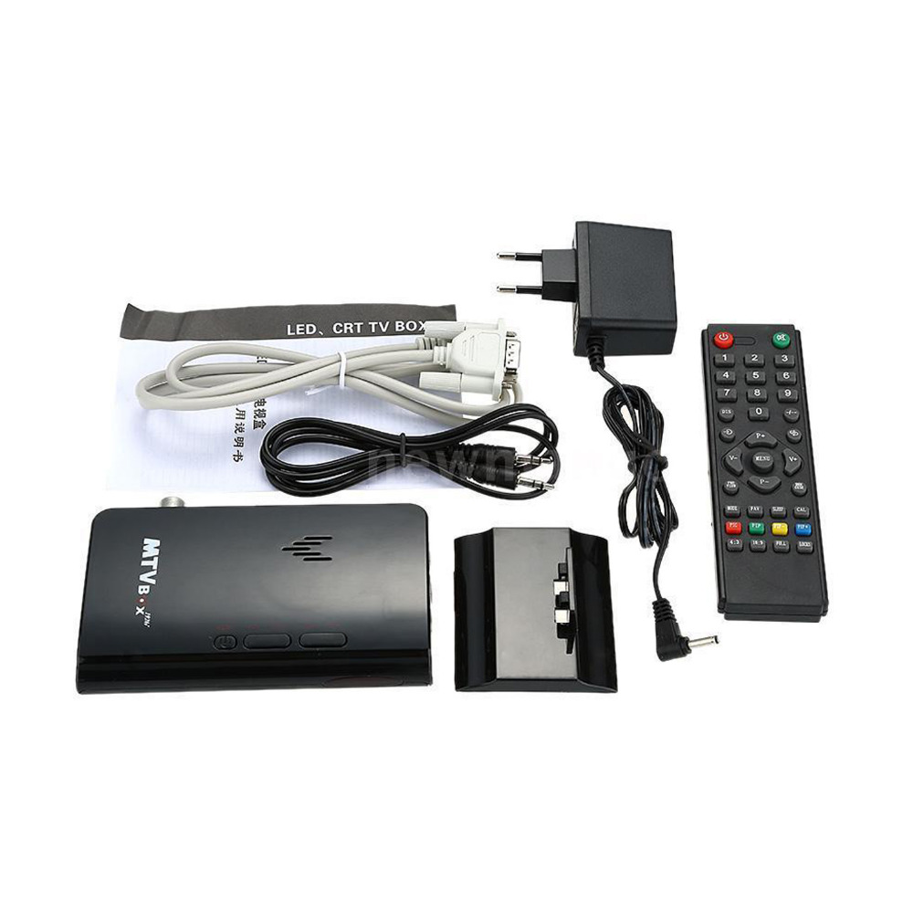 External HD LCD CRT VGA External TV Tuner MTV Box PC BOX Receiver Tuner HD 1080PTV Box AV To VGA With Remote Control