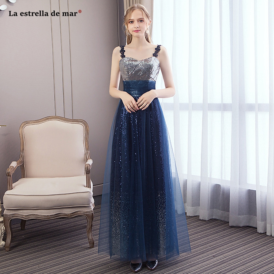 Vestido Para Madrinha New Sexy V Neck Tulle Sequin Navy Blue Bridesmaid Dress Long Beautiful Bohemian Wedding Party Gown