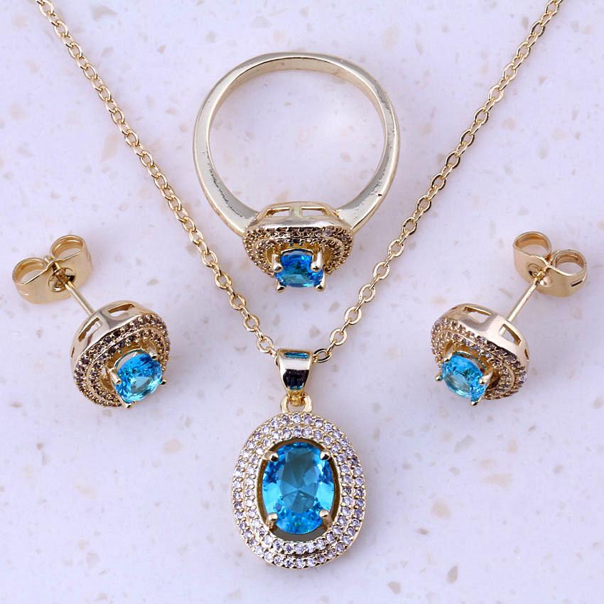 Bijou A La Mode #15: Doux Ciel Bleu Cristal Et Zircon Cubique Or Couleur Bijoux À La Mode  Définit Femmes Parti