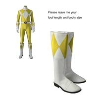 Cosplay Laarzen Voor Jongen Tijger Ranger Zyuranger Cosplay Kostuum Accessoires Props Wit En Geel Volwassen Mannen Halloween Mannelijke