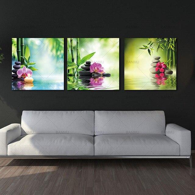 3 Panels Contemporary Zen Stone Landscape Artwork Giclee Canvas