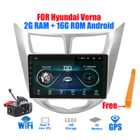 2din Car Radio 2G + 16G Android 8.1 Multimedia Player Navigation GPS Player 9 inch For Hyundai solaris verna 2016 2017 autoradio