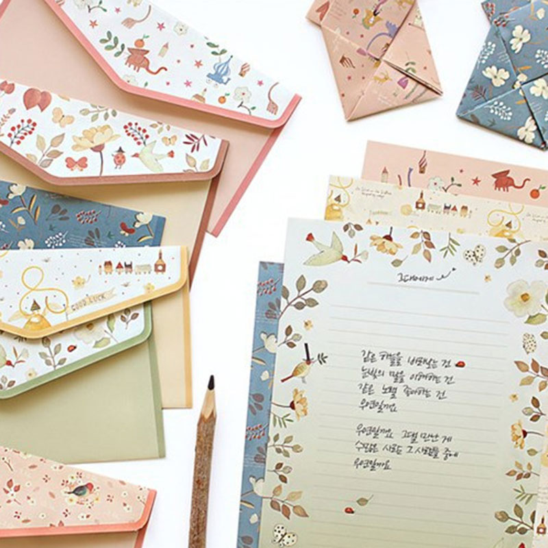 1 Set=(4 Sheet Letter Paper+2 Pcs Envelopes) Finely Flower Animal Letter Pad Set/set Writing Paper Office&School Supplie