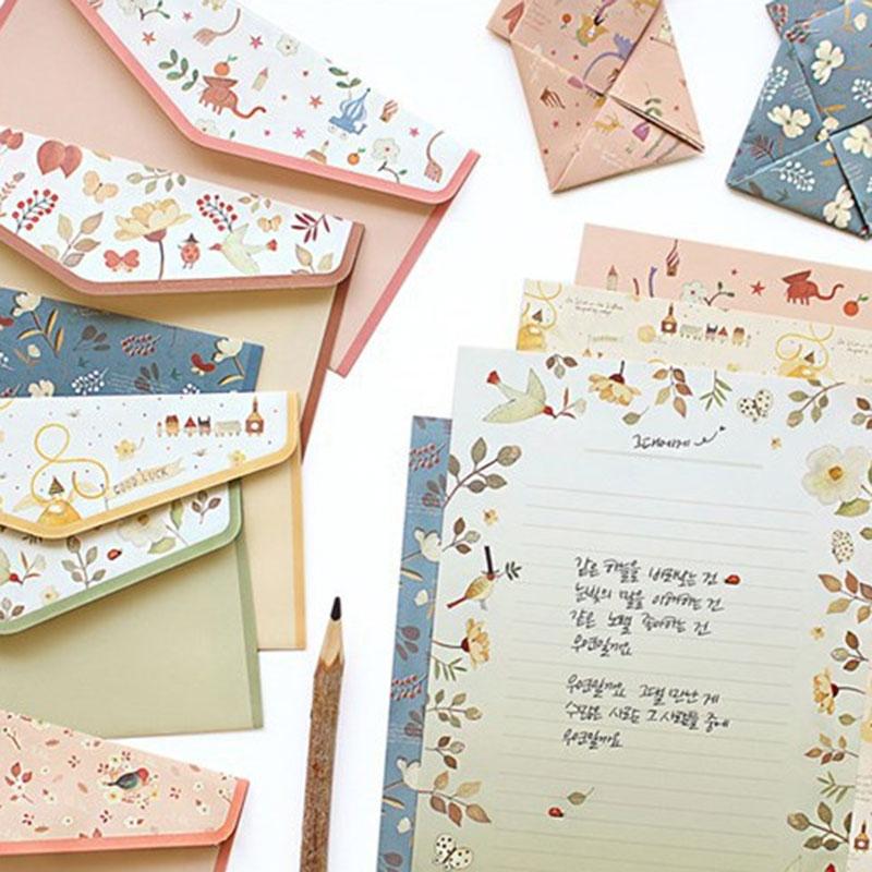 1 Set=(4 Sheet Letter Paper+2 Pcs Envelopes) Finely Flower Animal Letter Pad Set/set Writing Paper Office&School Supplie