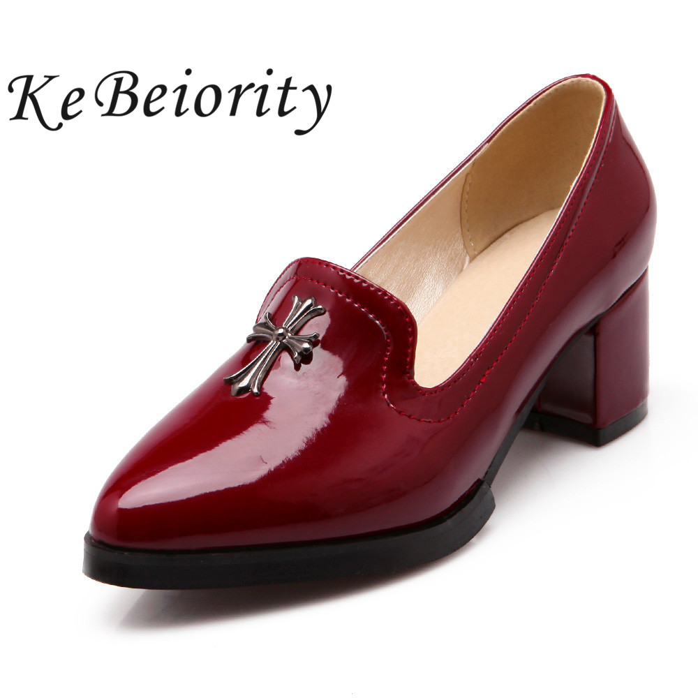 New fashion chunk heel spring women shoes pointed toe oxford shoes for women ladies heels red shoes low heel pumps big size new double handles free chrome brass water kitchen faucet swivel spout pull out vessel sink single handle mixer tap mf 279