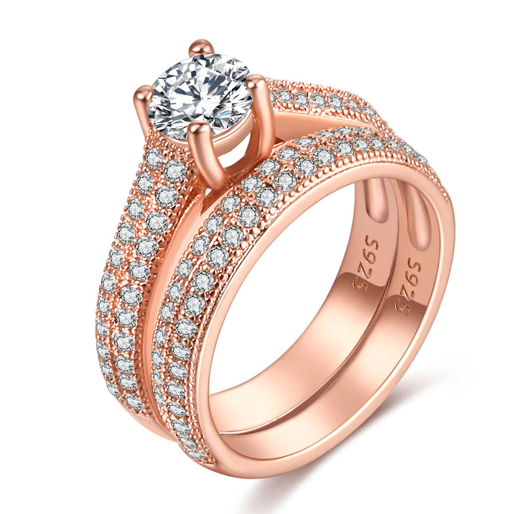 Luxury Female White Bridal Wedding Ring Set Fashion Silver Color Filled Jewelry Promise CZ Stone Engagement Rings For Women 5