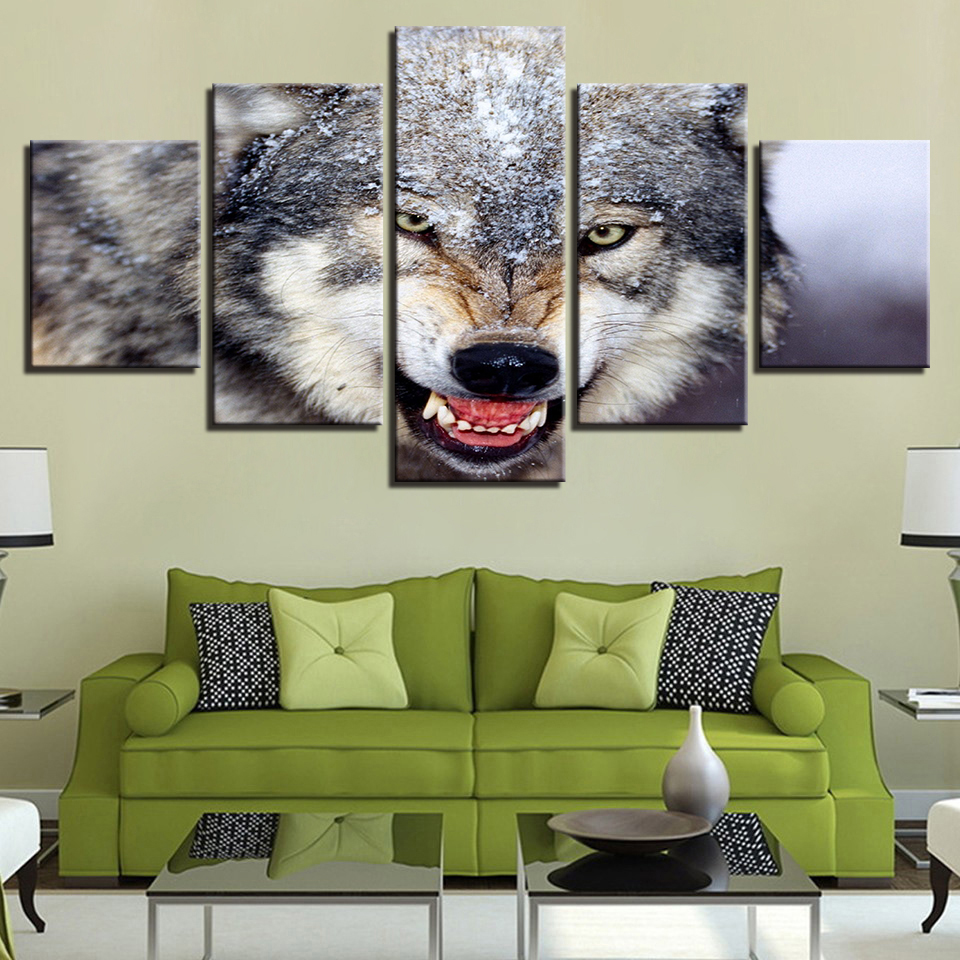 Home Decoration Modern Pictures HD Canvas Living Room Painting 5 Panel Snow Wolf Wall Art Printed Modular Cuadros Poster Frame in Painting Calligraphy from Home Garden