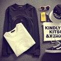 2016 Весна Япония стиль 3D печатной Площади хлопка с длинным рукавом футболки Черный и белый Улица Панк случайные футболки CH477