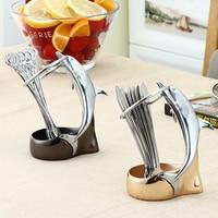 Creative dolphin shape fruit fork storage holder Kitchen decoration stainless steel pastry fork
