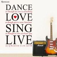 Danza del Amor de Cantar En Vivo Citas Inspiradoras DIY de Pared de Vinilo Sticker Decal Art Home Mural Papel Pintado Telón de fondo Decorativo H507