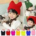 2016 New Hot Dad Baby Hat Cat Ears Girl Beanies Fluorescence Knitted Hats Caps For Girls Boys Photography Accessories