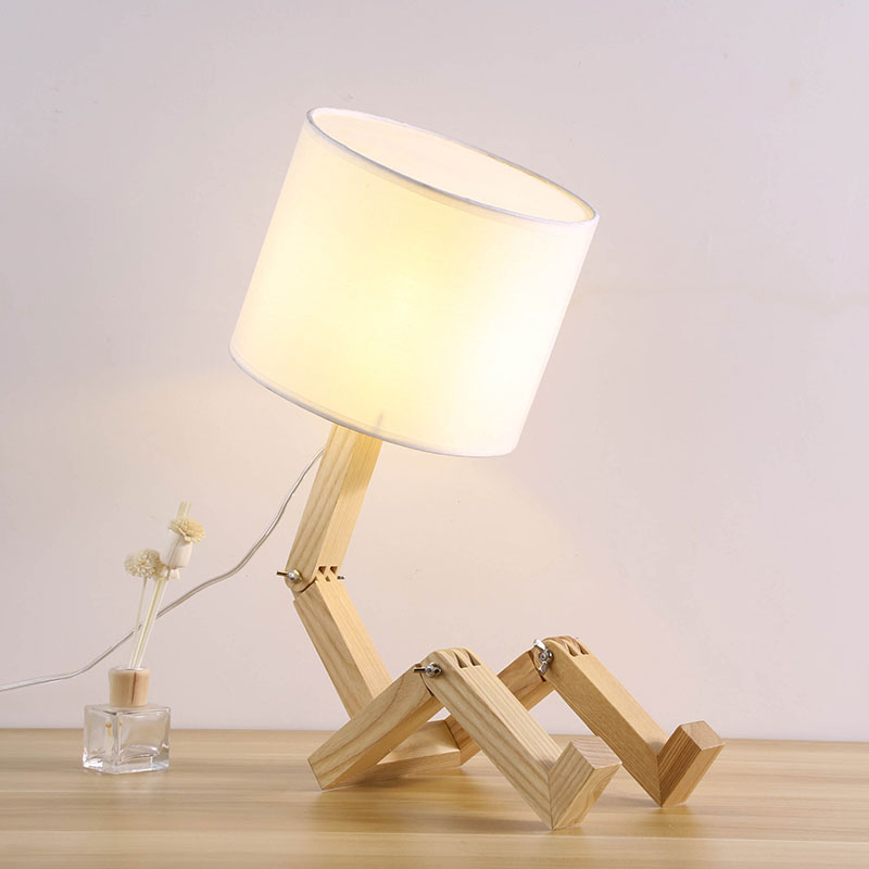Adjustable Table Lamp Wooden Bedside with Fabric Lampshade lamparas de mesa Desk Light Deco Luminaria For Bedroom 0084 modern creative white birds table lamps bedroom bedside table lamp study eye protecting desk light 18w led lamparas de mesa