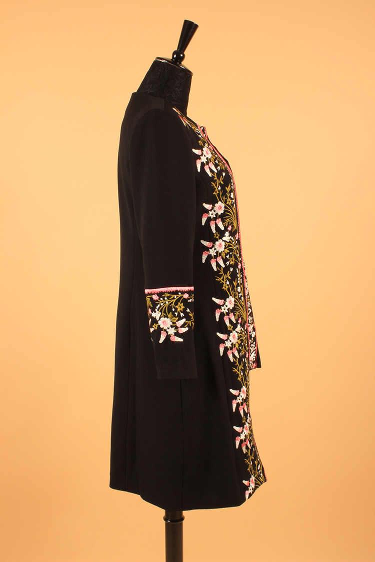 Vintage Açmalar 2018 Sonbahar Kış Yeni Moda Tam Kollu Ağır Çiçek Nakış Siyah Ünlü Ceket