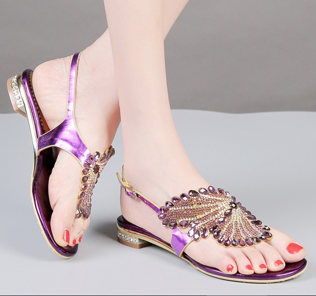 47f26d74a095 G-SPARROW Shoes Women Big Size Thick Heel Shoes with Diamonds Luxury High  Quality Handmade Sandals Rome Style Gladiator Shoes