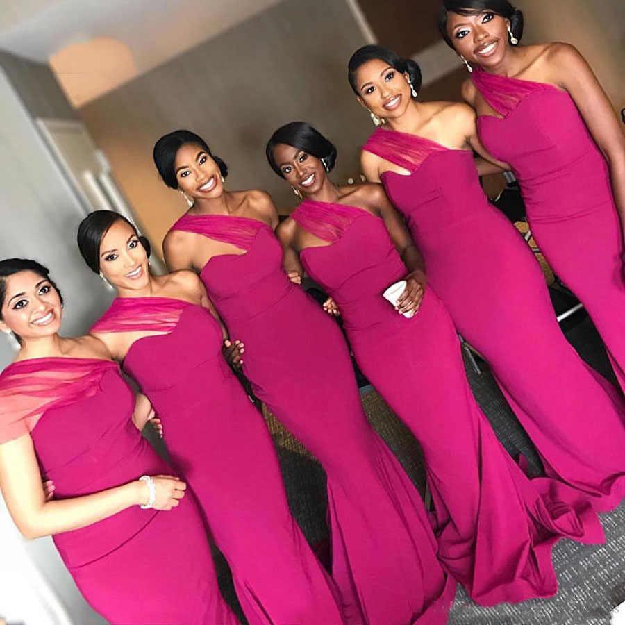Fuchsia 2019 Bridesmaid Dresses Pleats One Shoulder Maid Of Honor Dress Wedding Guest Dress Robes De Fete Robes De Bridesmaid Dresses Aliexpress
