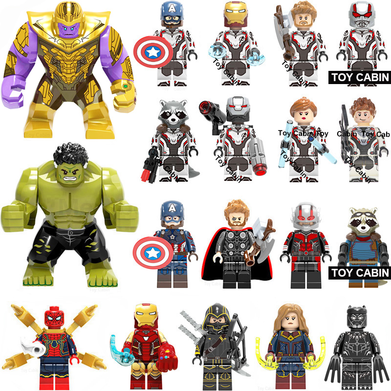 Super Heroes  Marvel Avengers Endgame Iron Man Thanos Thor War Machine Spiderman Captain America Hulk Block Kit Toys