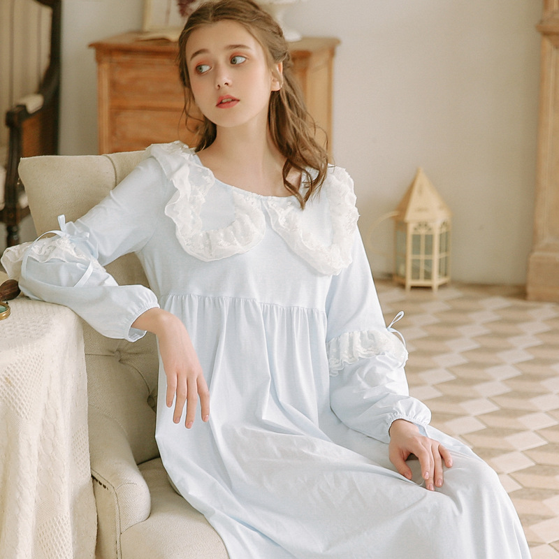 2019 Women Ladies Victorian Style Long Sleeve Vintage White Solid Lace Nightgown Plus Size Sleepwear Lingerie Dress Plus Size
