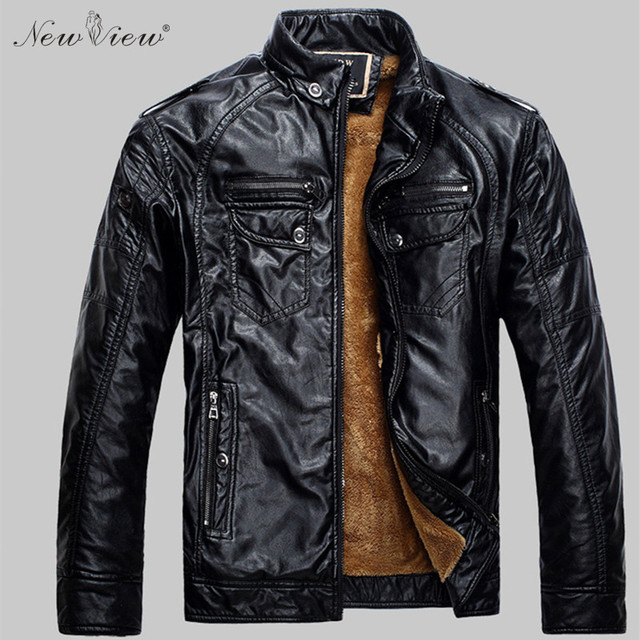 2017 Men Leather Jacket Winter Fashion Casual Faux PU Leather Motorcycle Jackets Thick Fur Coat Men Plus Size Jaqueta De Couro