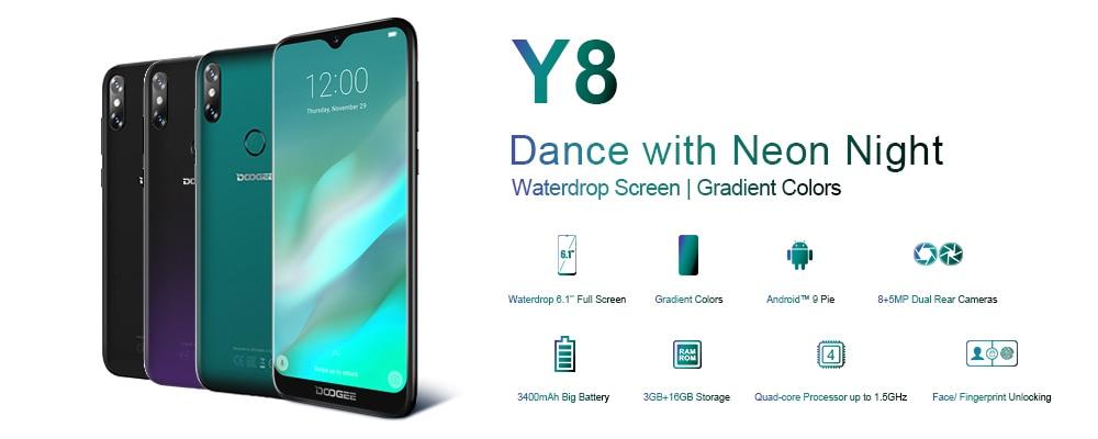 DOOGEE Y8 Android 9.0 FDD LTE 6.1inch 19:9 Waterdrop LTPS Screen Smartphone MTK6739 3GB RAM 16GB ROM 3400mAh Dual SIM 8.0MP