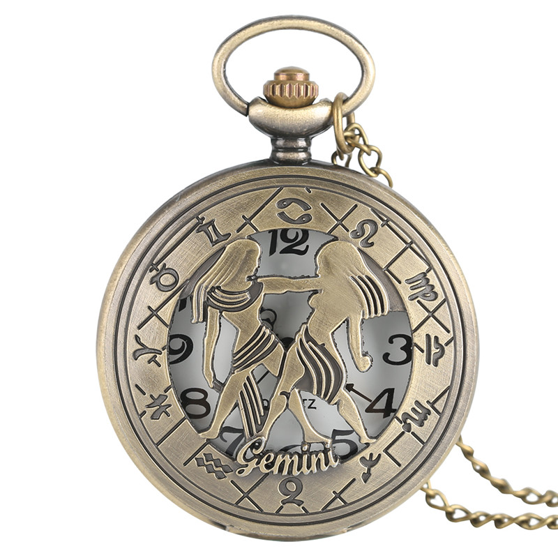Bronze Cool Hollow Gemini Twelve Constellations Theme Design Fob Pocket Watch Necklace Chain Half Hunter Best Birthday Gift
