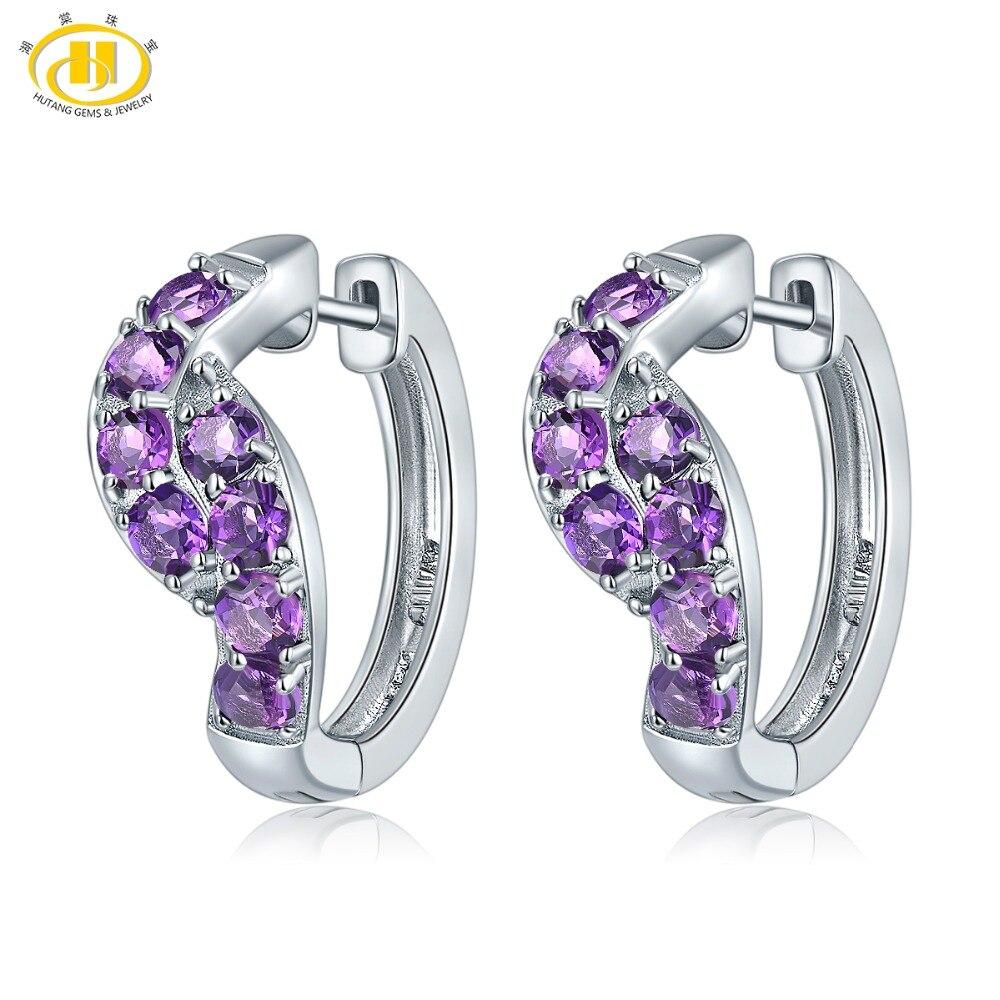 Boucles d'oreilles Clip améthyste africaine Hutang 925 argent Sterling pierres précieuses naturelles bijoux en pierre de mode pour les femmes meilleur cadeau nouveau