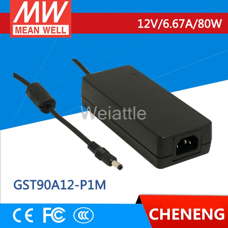 MEAN WELL original GST90A12-P1M 12V 6.67A meanwell GST90A 12V 80W AC-DC High Reliability Industrial Adaptor selling hot mean well gst280a12 c6p 12v 21a meanwell gst280a 12v 252w ac dc high reliability industrial adaptor
