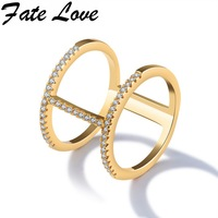 Fate Love OL Woman Fashion Rings Gold Color Wheel Style With Dazzle Tiny Beads Jewelry Gift