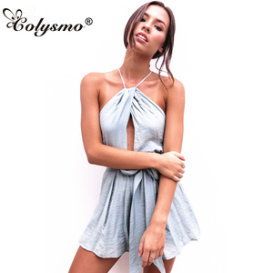 Colysmo Grey Sexy Jumpsuit for Women 2018 Rompers Womens Jumpsuit Backless Bow Tie Belted Halter Playsuit Summer Bohemian Romper