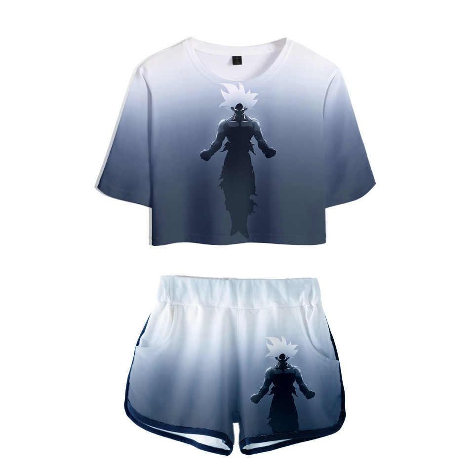 Frauen Zwei Stück Outfits dragon ball Z 3D Druck 2 Stück Set Crop Top und Kurze Hosen Trainingsanzug Für Frauen sets Anime Kleidung