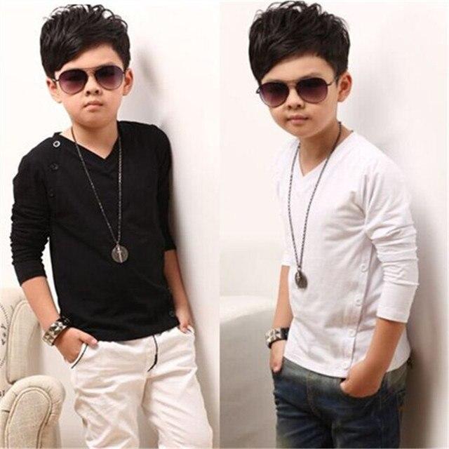 2016 весной новый детская одежда мальчиков хлопка с длинными рукавами футболки большой девственный хлопок V-образным Вырезом Футболка ребенок дна рубашки прилив