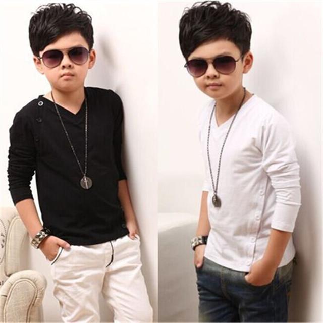 2016 nova primavera para crianças meninos roupas de algodão-algodão Com Decote Em V de mangas compridas t-shirt grandes virgens T-shirt infantil assentamento camisa maré
