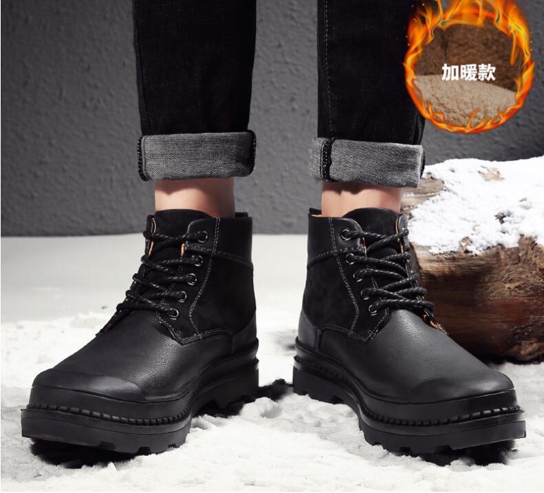 Negro Split Tobillo Marca Sólido Hombre Cuero 2018 Invierno Hombres Seguridad Para Marrón Color Trabajo Amshca Zapatos Calzado TqZxZwCnR