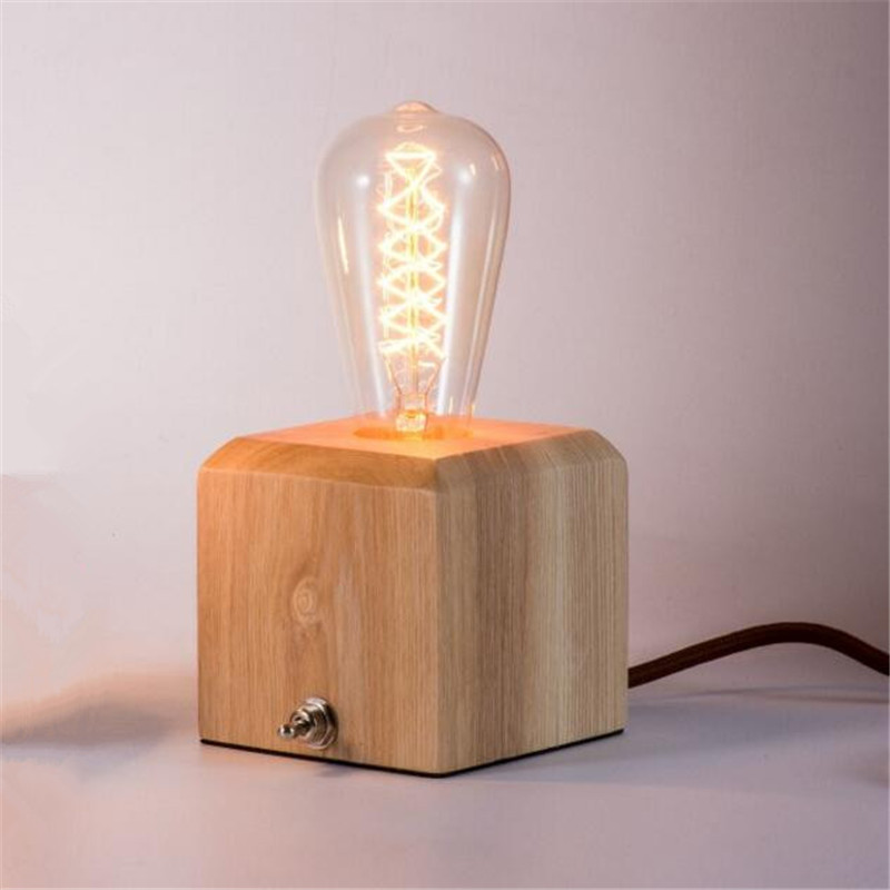 Vintage Wood Table Lamp Bedside Table Light for E26 Bulb Living Room ...