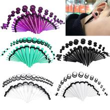36pcs/set Acrylic Ear Gauge Taper Ear Plug Stretching Kits Multicolor Ear Flesh Tunnel Expansion Body Piercing Jewelry 1.6-10mm 2pcs set acrylic piercing jewelry women ear stud awl ear expansion device auricle random color