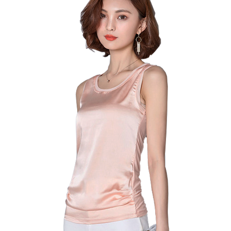 woman silk vest spring summer elegant o-neck rayon tank tops woman casual high quality sleeveless t-shirt comfortable top female