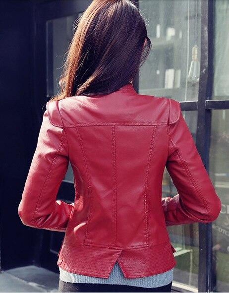 Femmes en cuir Pu court mince veste col rond fermeture éclair manteau vêtements de dessus pour femmes nouvelle mode Jacke M-2XL