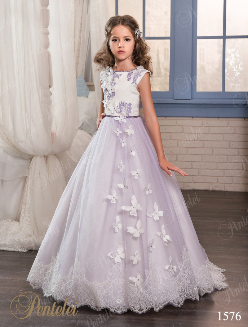 Purple Lace Flower Girls Dresses For Weddings 2017 Beads Appliques First Communion Dress Little Girls Pageant Gowns FH108